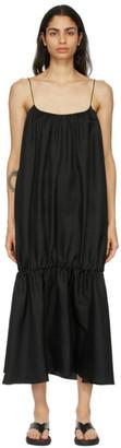Esse Studios Black Silk Gathered Strap Dress