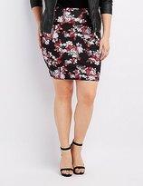 Charlotte Russe Plus Size Floral Bodycon Mini Skirt