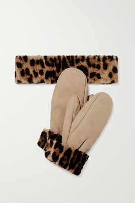 Yves Salomon Leopard-print Shearling Mittens And Headband Set