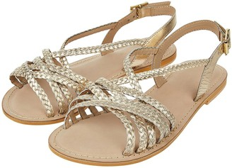 Monsoon Primrose Plait Leather Strappy Sandal - Gold