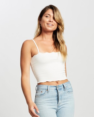 Atmos & Here Atmos&Here - Women's White Cropped tops - Riley Scallop Cami - Size 10 at The Iconic