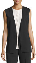 Magaschoni Layered Open-Front Sleeveless Jacket, Black