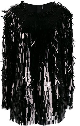 Norma Kamali All-Over Sequin Fringe Top