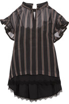 Sacai Ruffled Striped Silk-organza Top - Black