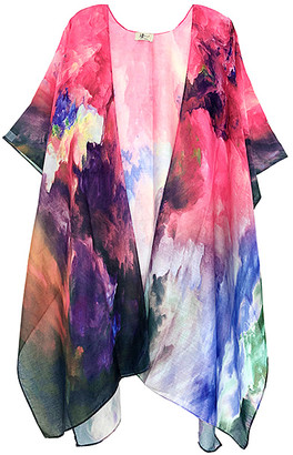 JC Sunny Women's Kimono Cardigans PINK/MULTI - Pink Abstract Clouds of Color Kimono - Women