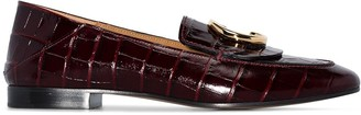 Chloé Purple C Logo Croc Embellished Leather Loafers