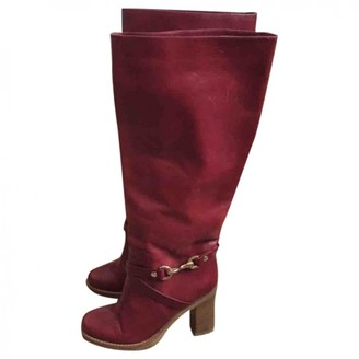 Mulberry Red Leather Boots