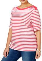 Karen Scott Plus Striped Boat Neck Top