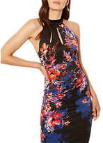 Karen Millen Midnight Floral Print Pencil Dress, Black/Multi
