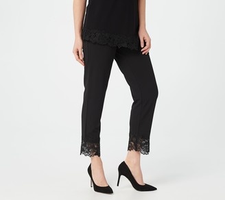 Dennis Basso Petite Luxe Crepe Pull-On Ankle Pants w/ Lace