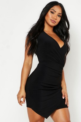 boohoo Sleeveless Rouche Wrap Mini Dress