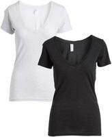 Pima Apparel Women's Tee Shirts Black, - Light Heather Gray Layered V-Neck Top - Women