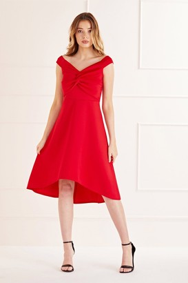 Yumi Knot Front High Low Dress