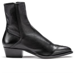 HUGO BOSS Italian Leather Boots With Cuban Heel And Tonal Stitching - Black