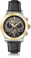 Salvatore Ferragamo 1898 Gold IP Stainless Steel Men's Chronograph Watch w/Black Croco Embossed Strap