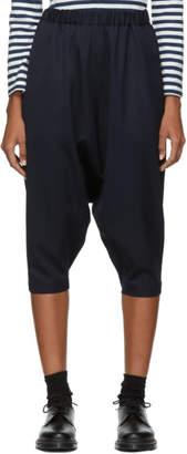 Comme des Garcons Navy Wool Drop Inseam Trousers