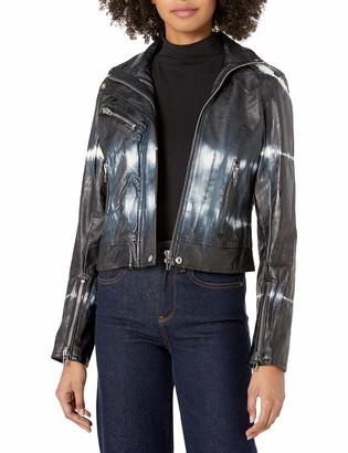 Blank NYC Women's Vegan Leather Tie Dye High Collar Moto Jacket