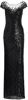 Jenny Packham Suzette Sequin Cap-Sleeve Gown