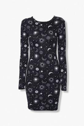 Forever 21 Celestial Print Bodycon Dress