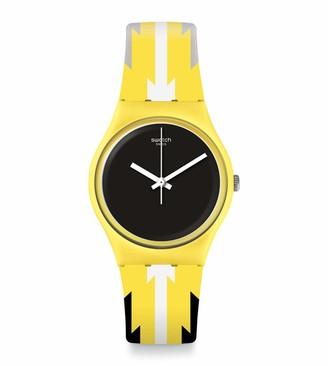 Swatch Unisex Adult Analogue Swiss Quartz Movement Watch with Silicone Strap GJ140