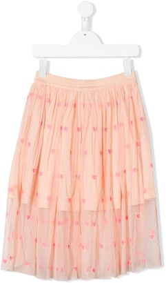 Stella McCartney TEEN heart-embroidered tulle skirt