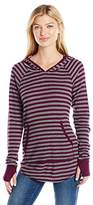 Michael Stars Women's Thermal Stripe Long Sleeve Hoodie with Thumbholes