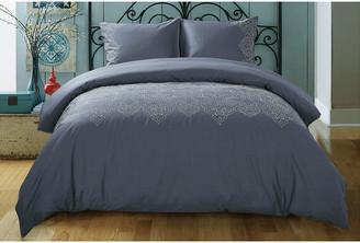 Melange Home Filigree Embroidered Duvet Set