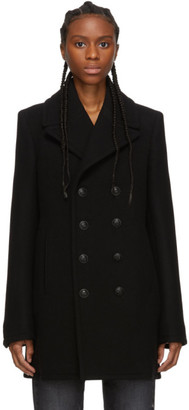Saint Laurent Black Felted Wool Classic Peacoat