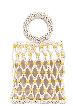 Rosantica Jules Small Beaded Clutch - Yellow White