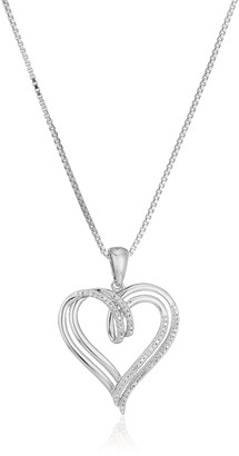 """Amazon Collection Sterling Silver Diamond Double Heart Pendant Necklace (1/10 cttw) 18"""""""