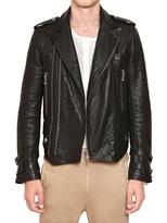 Balmain Hammered Leather Biker Jacket