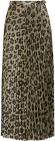 Haider Ackermann Pleated Printed Silk-blend Lamé Maxi Skirt - Leopard print
