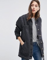 Asos Denim Drop Hem Workwear Jacket in Washed Black