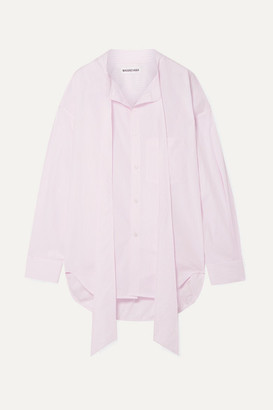 Balenciaga New Swing Oversized Striped Cotton-poplin Shirt - Baby pink