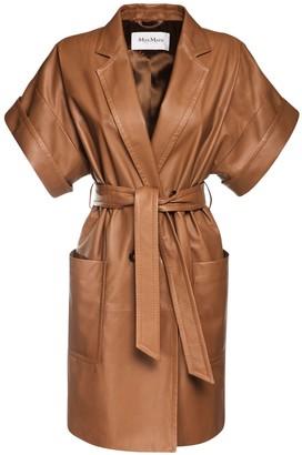 Max Mara Navata Leather Coat Dress