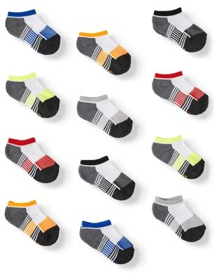 Athletic Works Boy's Socks, 12 Pack No Show Athletic, Sizes S-L