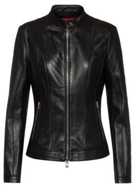 HUGO BOSS Regular-fit leather jacket with textured panels