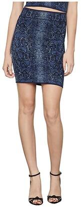 BCBGMAXAZRIA Python Knit Mini Skirt (Dark Navy Combo) Women's Skirt