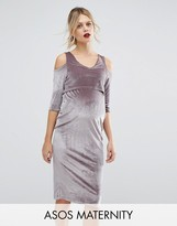 Asos Velvet Cold Shoulder Dress with Double Layer