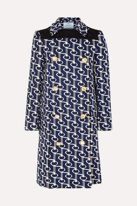 Prada Double-breasted Jacquard-knit Coat - Navy