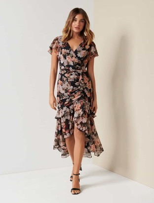 Forever New Bronte Ruched Wrap Midi Dress - Vintage Amber Floral - 8