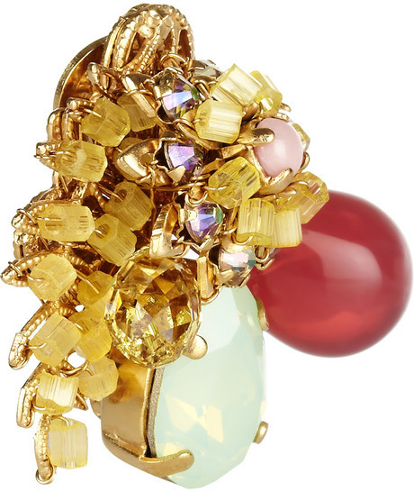Swarovski Bijoux Heart Sucre gold-plated crystal clip earrings