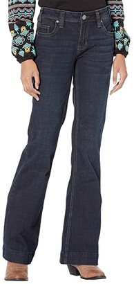 Rock and Roll Cowgirl Mid-Rise Trousers and Clean Pocket in Dark Wash W8M6096 (Dark Wash) Women's Jeans