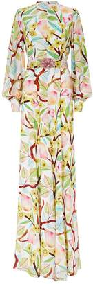 Andrew Gn Belted Garden Print Gown
