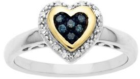 Lord & Taylor Sterling Silver with 14Kt. Yellow Gold Green-Blue Diamond Heart Ring