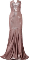 Roland Mouret Brenner Strapless Lamé Gown - UK8