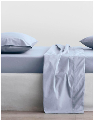 Sheridan Organic Cotton Percale 300TC Fitted Sheet in Soft Blue Blue Queen