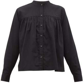 Mara Hoffman Sybil Collarless Pleated Cotton Blouse - Womens - Black
