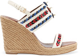 Tory Burch Embellished leather wedge sandals