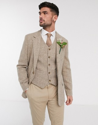 ASOS DESIGN wedding Harris Tweed slim blazer with wool herringbone in camel